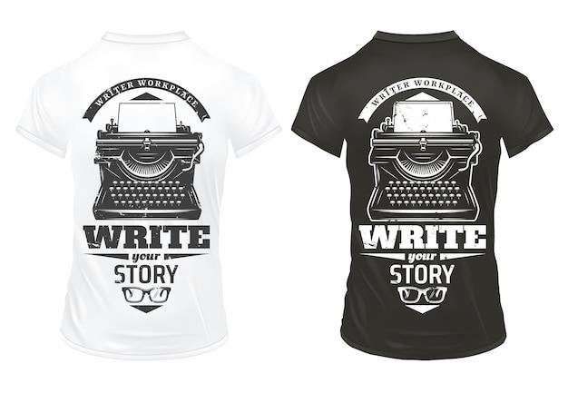 Plantilla de impresiones de escritor vintage con inscripciones, máquina de escribir y anteojos en camisas blancas y negras aisladas vector gratuito