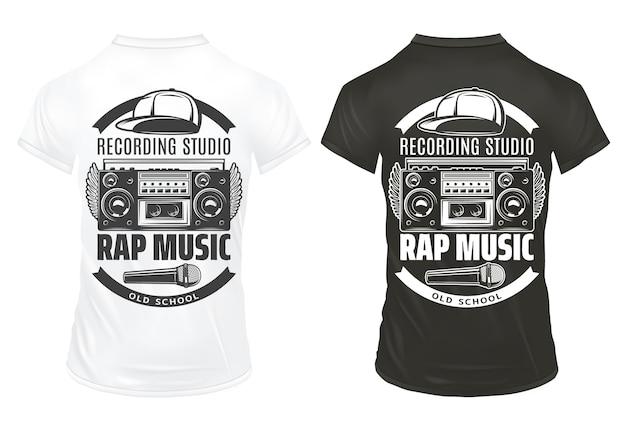 Plantilla de impresiones de música rap vintage con tapa de micrófono grabadora de inscripciones en camisas blancas y negras aisladas vector gratuito