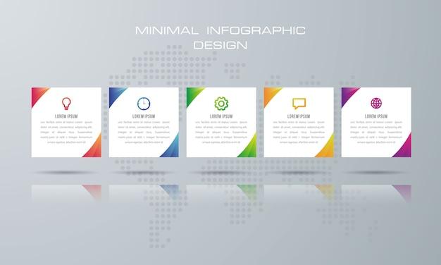 Plantilla de infografía con 5 opciones Vector Premium