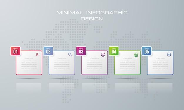 Plantilla de infografía con 5 opciones. Vector Premium