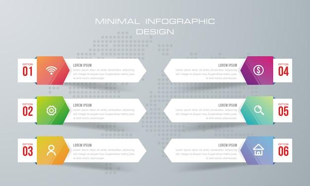 Plantilla de infografía con 6 opciones, flujo de trabajo, tabla de procesos, vector de diseño de infografías de línea de tiempo Vector Premium
