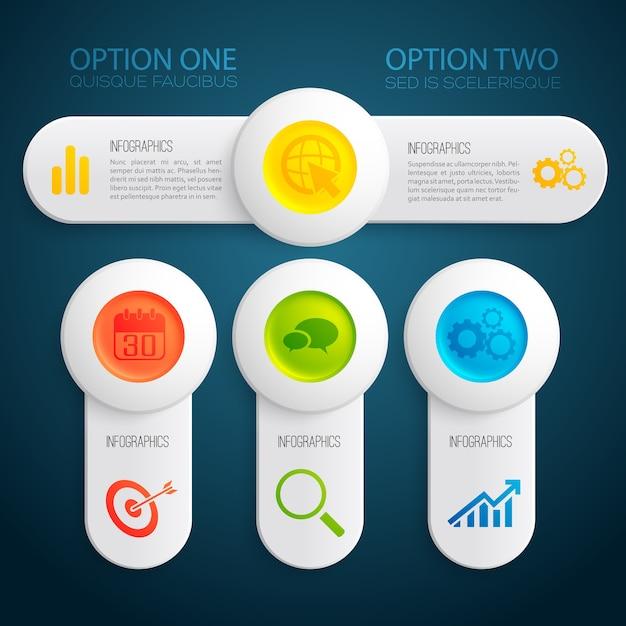Plantilla de infografía abstracta con opciones de texto de banners coloridos botones e iconos redondos ilustración vector gratuito