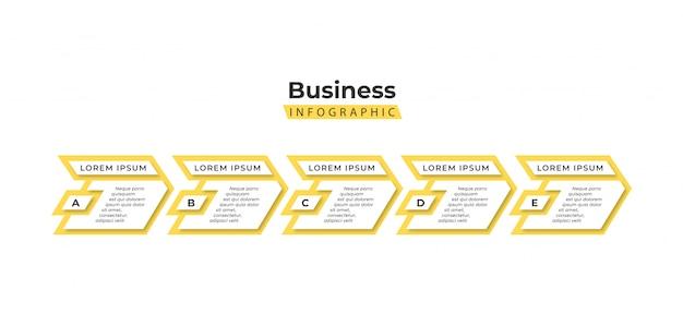 Plantilla de infografía amarilla 5 pasos Vector Premium