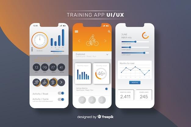 Plantilla de infografía de aplicación móvil de fitness vector gratuito