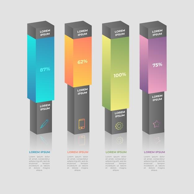 Plantilla de infografía barras 3d vector gratuito