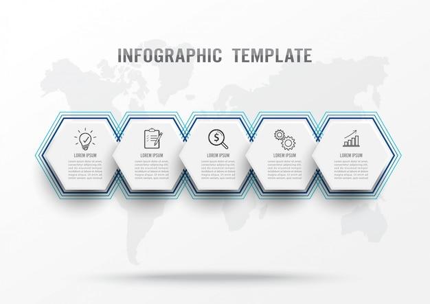 Plantilla de infografía con cinco pasos Vector Premium
