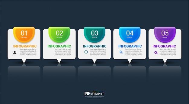 Plantilla de infografía cinco pasos Vector Premium