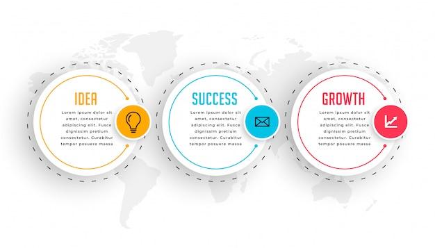 Plantilla de infografía circular de negocios con tres pasos vector gratuito