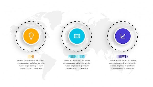 Plantilla de infografía circular de tres pasos en estilo moderno vector gratuito