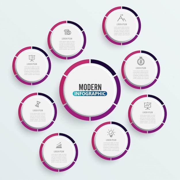 Plantilla de infografía con círculos de papel 3d Vector Premium