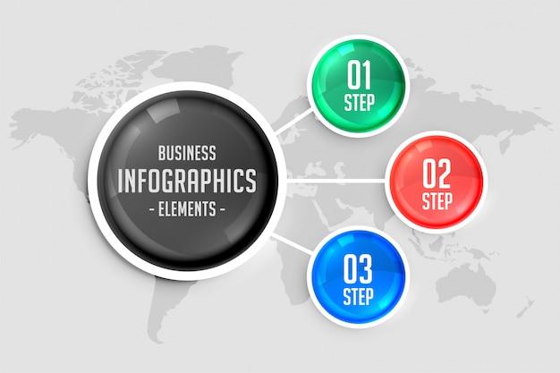 Plantilla de infografía en color de tres pasos vector gratuito
