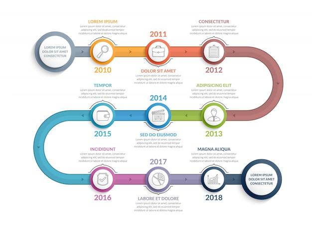Plantilla de infografía colorida línea de tiempo Vector Premium