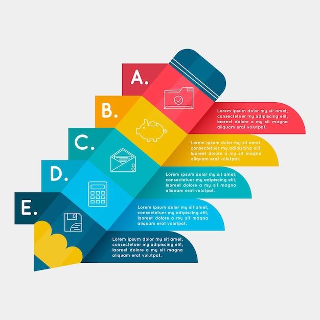 Plantilla de infografía colorida con pasos vector gratuito