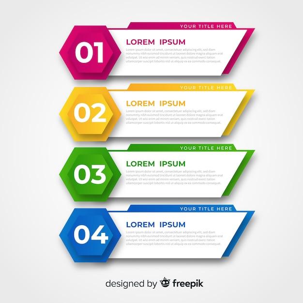 Plantilla de infografía colorido diseño plano. vector gratuito