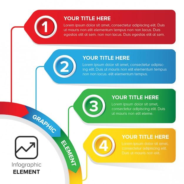 Plantilla de infografía colorido elemento de diseño Vector Premium