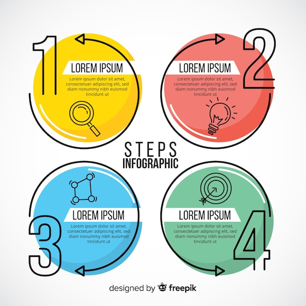 Plantilla de infografía con concepto de pasos vector gratuito
