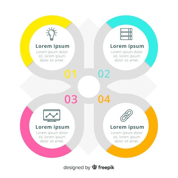 Plantilla de infografía corporativa empresarial, composición de elementos infográficos vector gratuito
