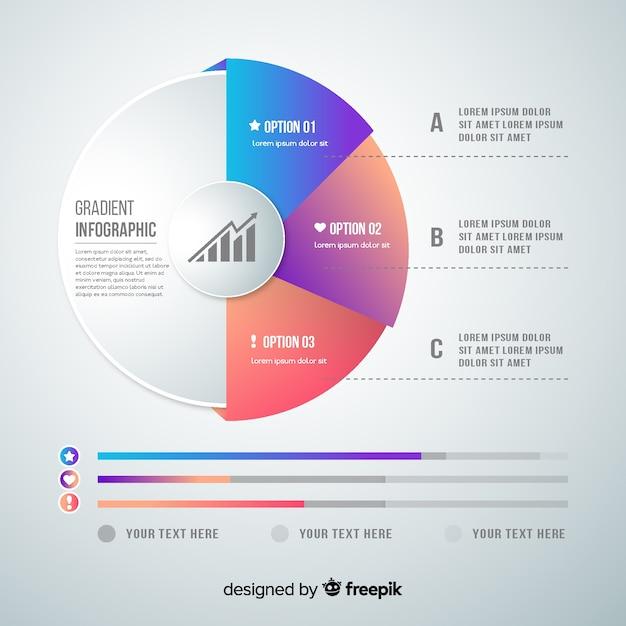 Plantilla infografía degradada diseño plano vector gratuito