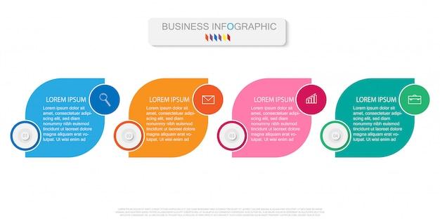 Plantilla de infografía con diagrama de proceso de flujo de trabajo de cuatro pasos u opciones Vector Premium