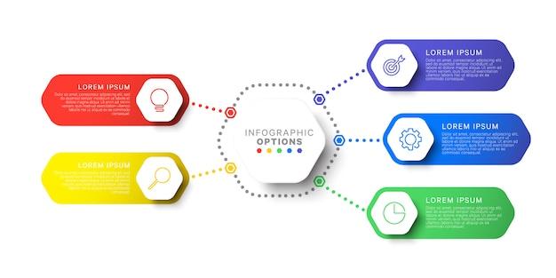 Plantilla de infografía de diseño simple de cinco pasos con elementos hexagonales. diagrama de proceso de negocio para folleto, pancarta, informe anual y presentación Vector Premium