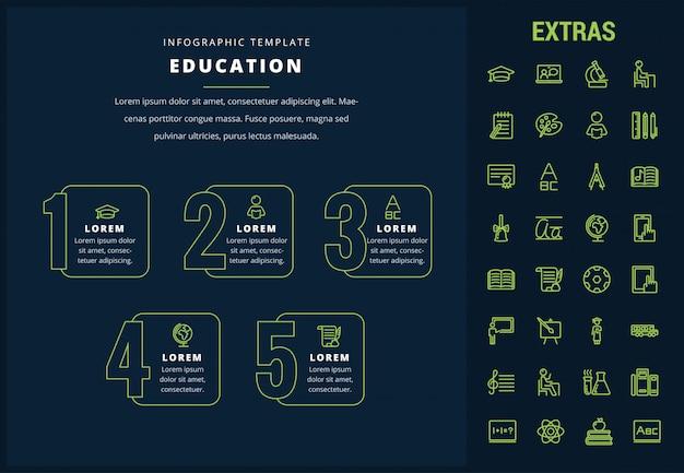 Plantilla de infografía educación, elementos e iconos Vector Premium