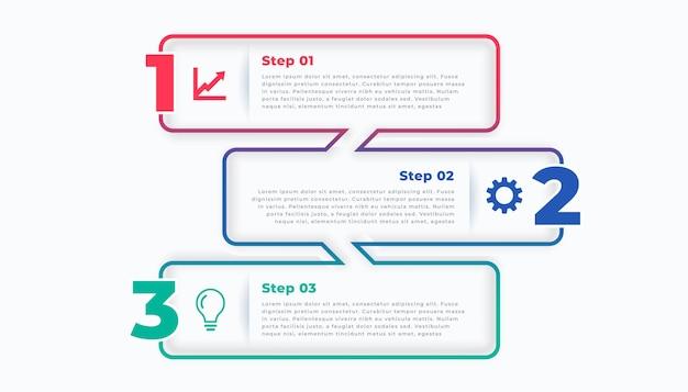 Plantilla de infografía elegante de línea de tres pasos vector gratuito