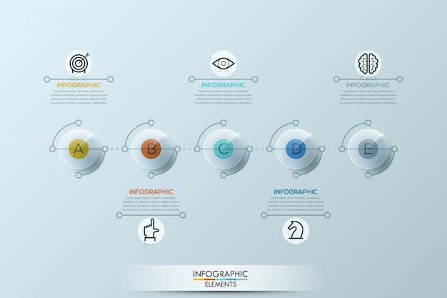 Plantilla de infografía con elementos redondeados. Vector Premium