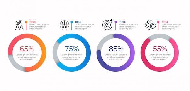 Plantilla de infografía empresarial 4 opciones Vector Premium