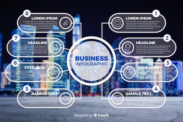 Plantilla de infografía empresarial con foto vector gratuito