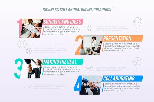 Plantilla de infografía empresarial con foto Vector Premium