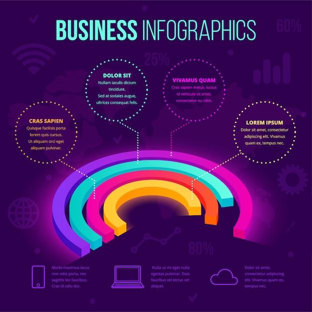 Plantilla de infografía empresarial isométrica. icono de gráfico circular de gradiente de neón 3d, concepto creativo para el diseño de documentos, informes, presentaciones, infografías, diseño web, aplicaciones. ilustración Vector Premium