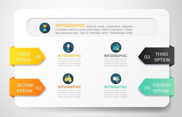 Plantilla de infografía empresarial con opciones Vector Premium