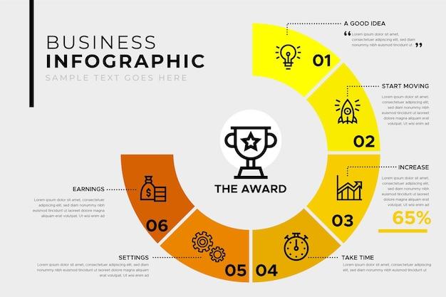 Plantilla de infografía empresarial con premio vector gratuito