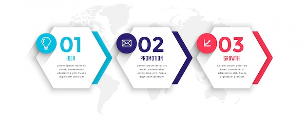 Plantilla de infografía empresarial de tres pasos de estilo hexagonal vector gratuito