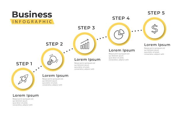 Plantilla de infografía escalera amarilla 5 pasos Vector Premium