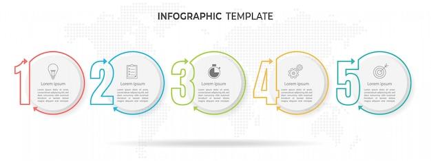 Plantilla de infografía estilo de línea moderna y delgada, con 5 números y opciones de círculo. Vector Premium