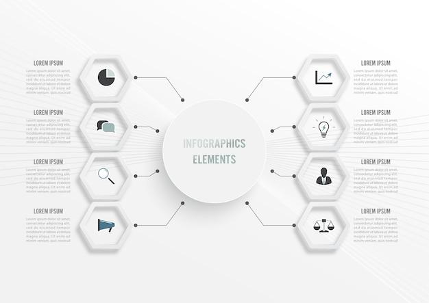 Plantilla de infografía con etiqueta de papel 3d, círculos integrados. concepto de negocio con 8 opciones. para contenido, diagrama, diagrama de flujo, pasos, partes, infografías de línea de tiempo, flujo de trabajo, gráfico. Vector Premium