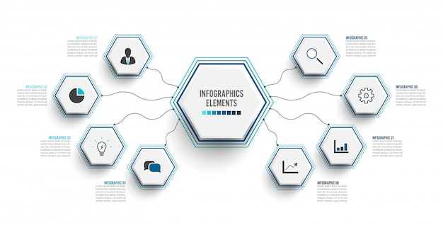 Plantilla de infografía con etiqueta de papel 3d. concepto de negocio con 8 opciones. Vector Premium