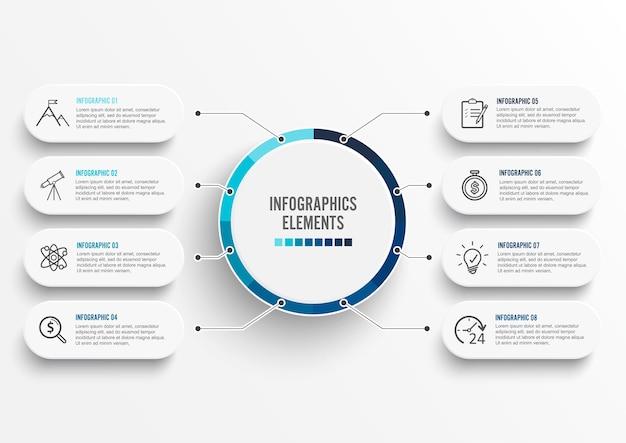 Plantilla de infografía con etiqueta de papel 3d Vector Premium