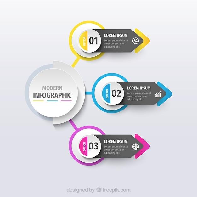 Plantilla de infografía con formas coloridas vector gratuito