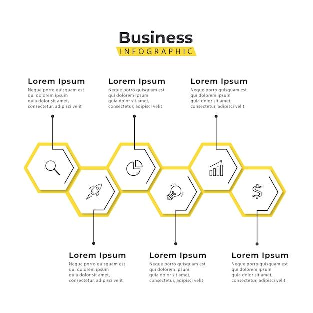 Plantilla de infografía hexágono amarillo 5 pasos Vector Premium
