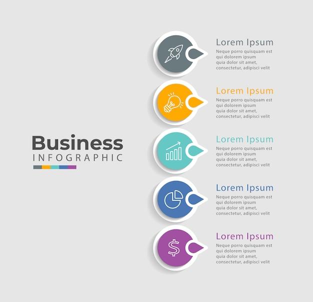 Plantilla de infografía con iconos y 5 opciones o pasos. Vector Premium