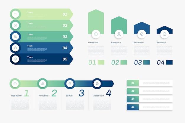 Plantilla de infografía jerárquica degradada vector gratuito