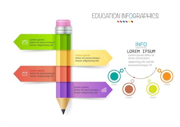 Plantilla de infografía con lápiz de 4 pasos con cintas de colores Vector Premium