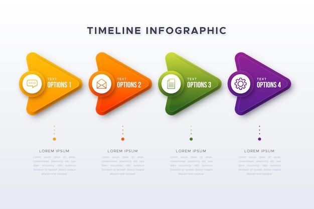 Plantilla de infografía de línea de tiempo degradada vector gratuito