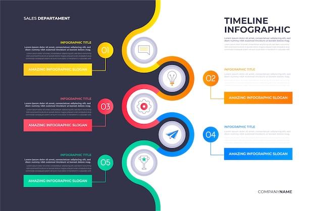 Plantilla de infografía de línea de tiempo de diseño plano vector gratuito