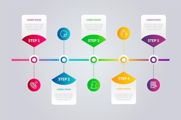 Plantilla de infografía de línea de tiempo gradiente vector gratuito