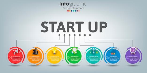 Plantilla de infografía línea de tiempo con iconos en concepto de inicio. Vector Premium