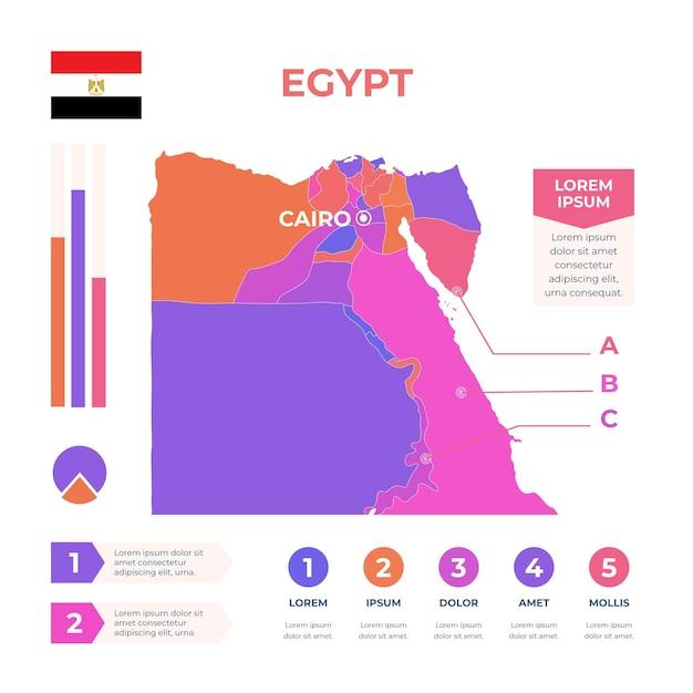 Plantilla de infografía de mapa de egipto dibujado a mano Vector Premium
