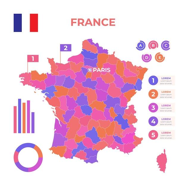 Plantilla de infografía de mapa de francia dibujado a mano vector gratuito